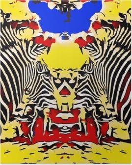 Poster Dessin et peinture zèbres avec fond jaune et bleu rouge