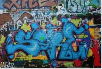 Poster Détail des graffitis sur le mur de briques texture