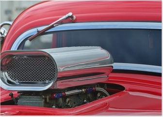 Detail of air intake and windscreen on custom car Poster