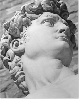 detail of famous italian sculpture - David by Michelangelo, bl Poster