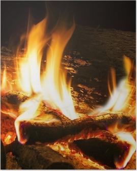 Poster Detail van de brand en het verbranden van hout