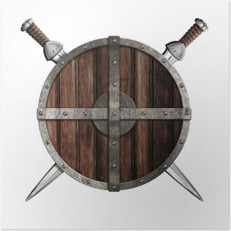 Poster Deux épées derrière bouclier rond en bois isolé
