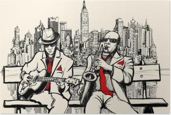 Poster Deux hommes de jazz jouant à New York