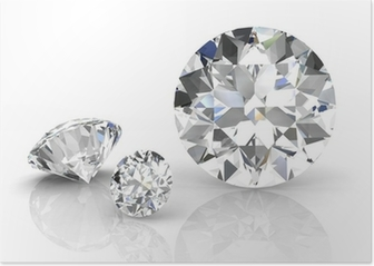 diamond jewel on white background. High quality 3d render Poster