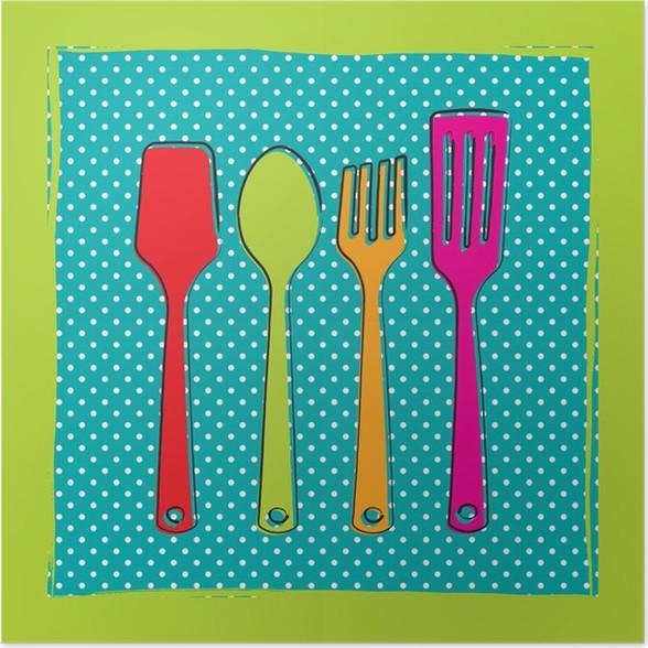 P ster dibujo de utensilios de cocina de pl stico sobre un for Utensilios de cocina fondo