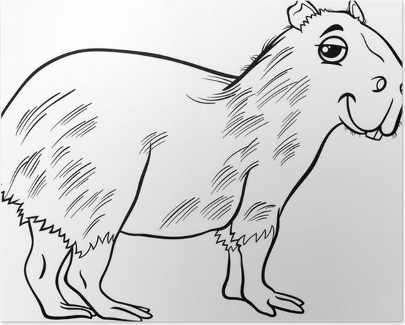 Póster Dibujo para colorear de dibujos animados de animales ...
