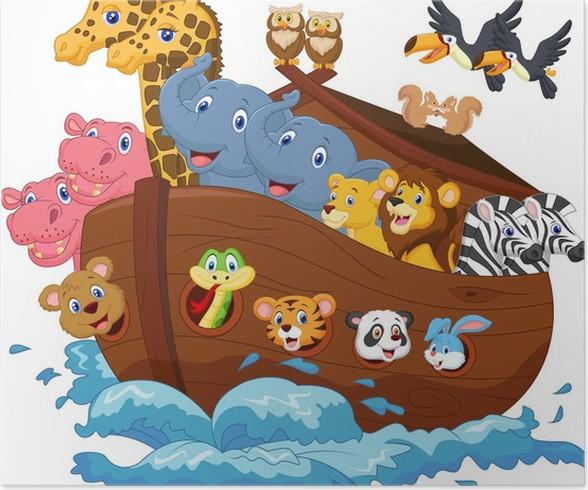 Cuadro En Lienzo Dibujos Animados Arca De Noé Pixers Dibujos Para