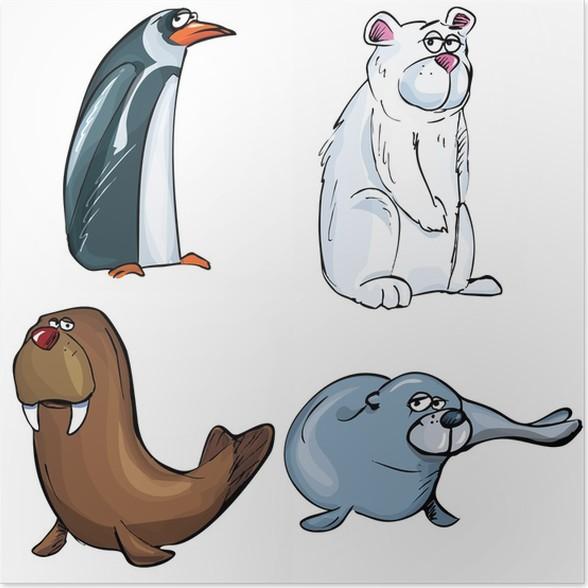 Póster Dibujos animados de conjunto de animales del Ártico • Pixers ...