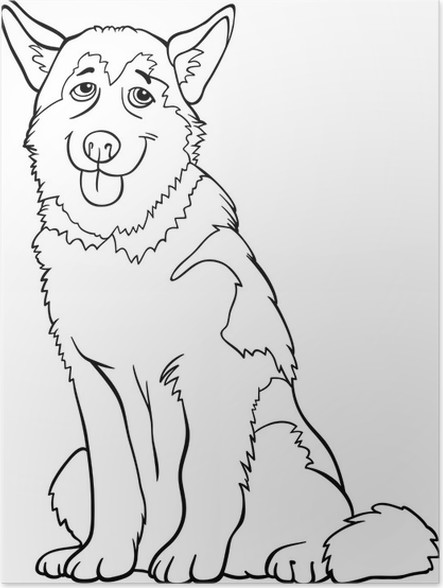 Póster Dibujos animados husky o malamute perro para colorear ...