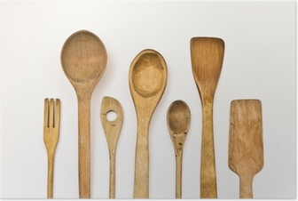 different kitchen wooden utensils on a white background Poster