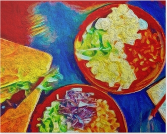 Digital colorful art painting. Poster with food Ideal for decoration cafe or restaurante. Poster