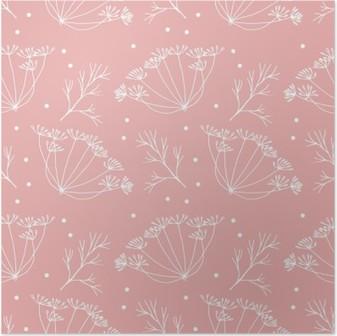 Poster Dille of venkel bloemen en bladeren patroon.