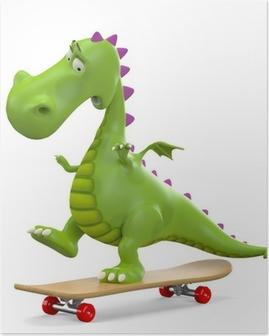 Poster Dino babydraak schaatsen