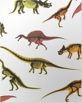 Dinosaurs and pterodactyl types of animals seamless pattern isolated on white background vector. Poster
