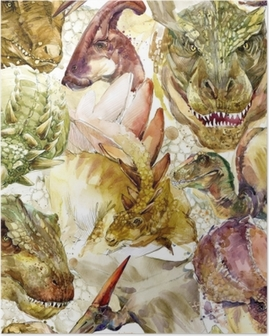 Dinosaurs seamless pattern. hand-drawn watercolor illustration Poster
