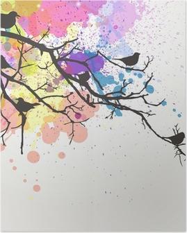 Poster Direction de Vector avec des oiseaux sur un fond abstrait