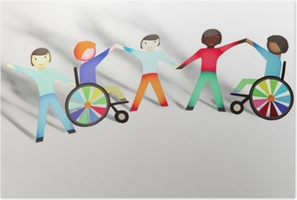 Disabled. Family concept with wheelchair- paper dolls Poster