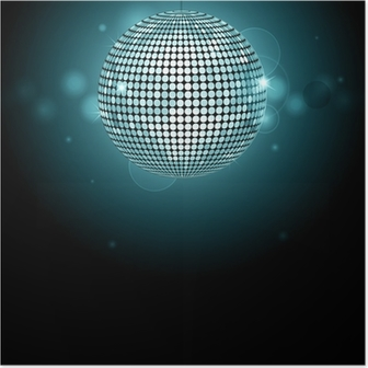 Sparkling Golden Disco Ball On A Glowing Purple Background Poster