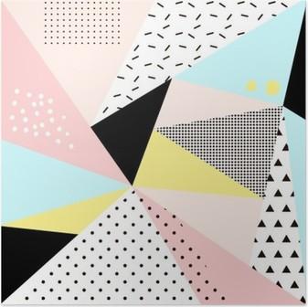 Póster Diseño de Memphis background.Retro geométrica para la invitación, tarjeta de visita, cartel o banner.