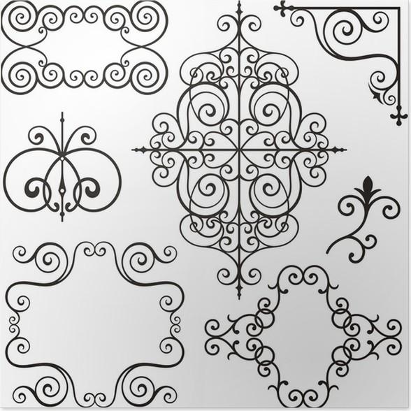 P ster dise os ornamentales de hierro forjado pixers for Hierro forjado disenos
