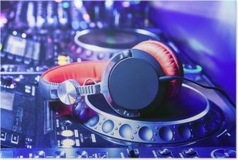 Dj mixer with headphones Poster