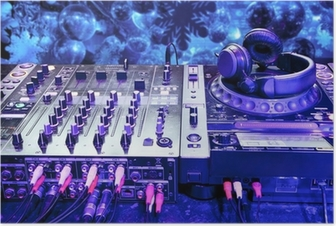 Dj mixer with headphones Poster