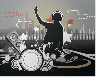 Dj, music concept, illustration Poster
