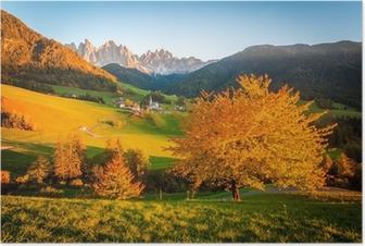 Poster Dolomieten Alpen, Val di Funes, Herfst landschap