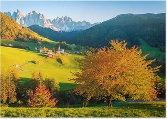 Dolomites Alps, Val di Funes, Autumn landscape Poster