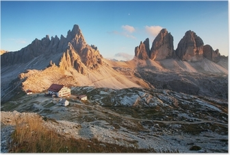 Dolomites mountain panorama in Italy at sunset - Tre Cime Poster