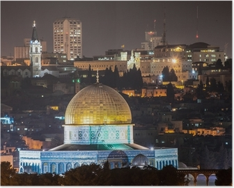 Dome of the Rock at night Poster