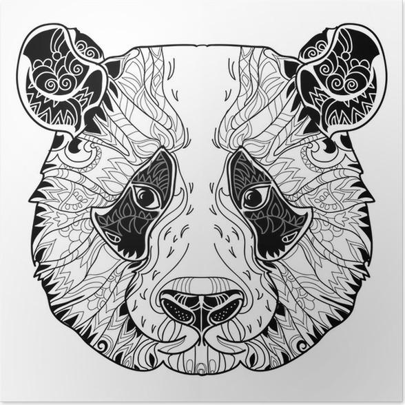 póster doodle de panda cabeza en el fondo blanco • pixers