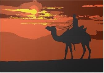 Poster Door de woestijn