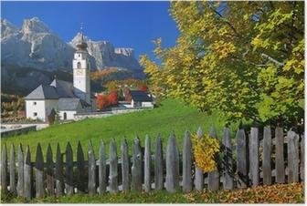 Poster Dorp in herfst Zuid-Tirol