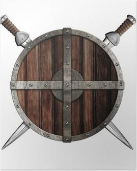 Póster Dos espadas detrás escudo redondo de madera aislada