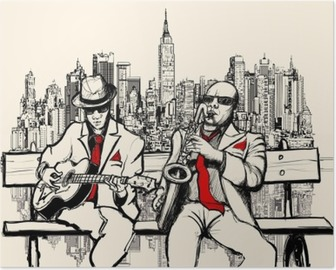 Póster Dos hombres de jazz tocando en Nueva York