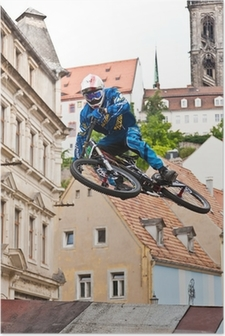 Poster Downhill Sprung Stadt
