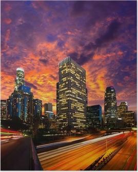 Poster Downtown LA nuit Los Angeles horizon coucher de soleil en Californie