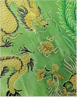 dragon and phoenix, chinese silk embroidery Poster