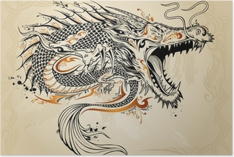 Dragon Doodle Sketch Tattoo Vector Poster