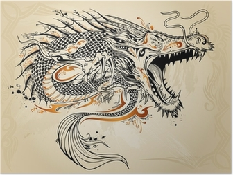 Poster Dragon Tattoo Doodle Sketch Vector