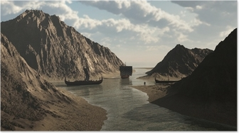 Poster Drakkars vikings en islandais Inlet