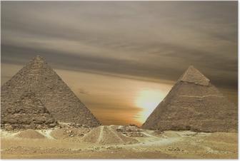 Poster Drame du coucher du soleil pyramides