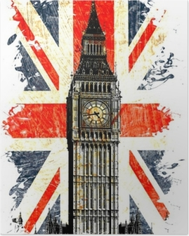 drapeau anglais big ben vertical Poster