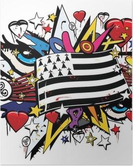 Poster Drapeau Bretagne Breizh graffiti tag pop art illustratie