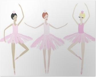 Poster Drie gracieuze ballerina dansen in identieke jurken