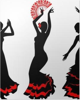 Poster Drie silhouetten van flamenco danser met fan