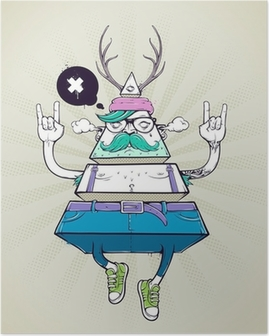 Poster Driehoek hipster bizar karakter
