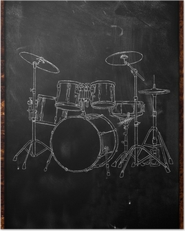 Drum Chalk Sketch on Blackboard Poster