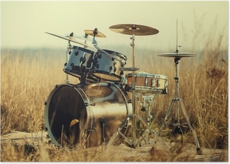 Drum set on fresh air Poster